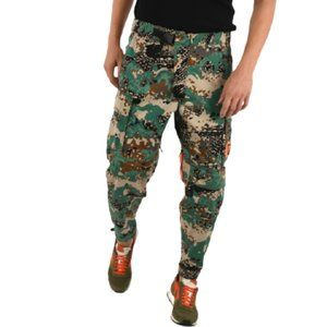 Diesel Patched Camo Cargo Trousers in Green Multi